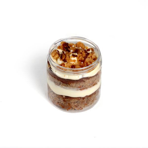 mini carrot cake in a jar