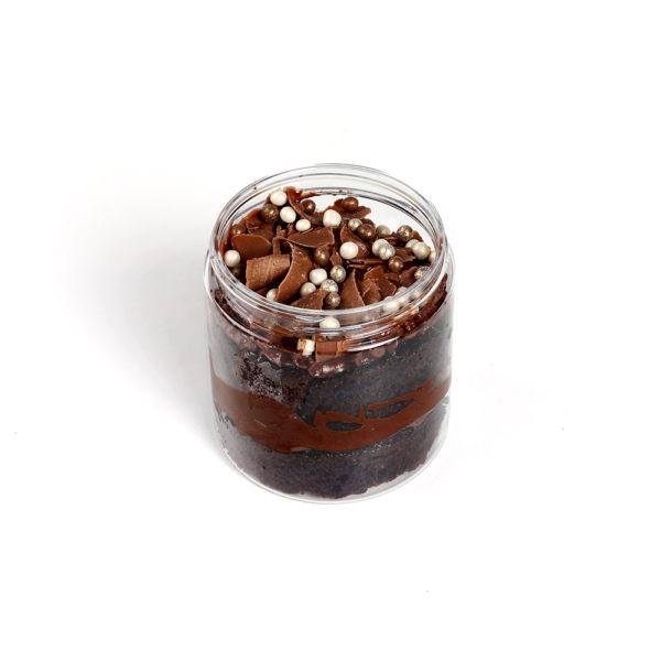 mini chocolate cake in a jar
